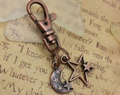 Copper starry night - key or purse chain
