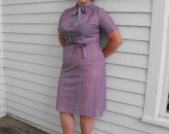 Vintage 70s Striped Dress Purple Secretary L XL