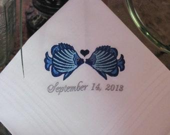 Wedding Handkerchief - Set of 2 - Kissing Fish - Embroidered Handkerchiefs - Bride and Groom - Wedding Gift - Simply Sweet Hankies