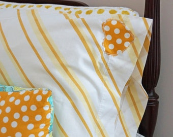 Polka Dots & Stripes Oh My, Vintage Pillowcase with Appliqued Polka Dot Heart