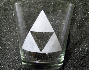 Legend of Zelda Triforce etched shot glass