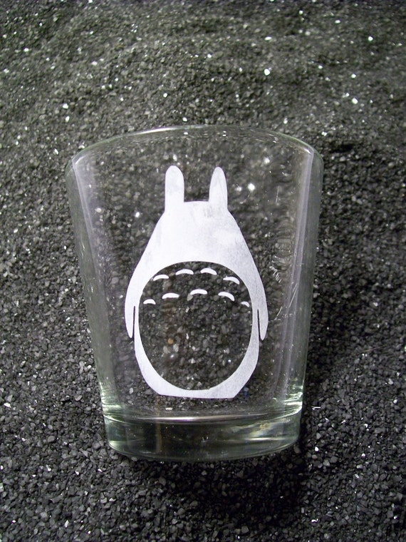 Totoro etched shot glass