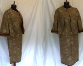 1940s Vintage Silk Suit. Blouse, Skirt and Jacket Set. Brown and Gold Brocade with Genuine Mink Fur. Size Extra Small. One of a Kind OOAK.