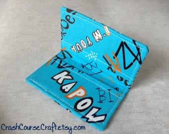 Card Wallet - Superhero Comic Book - credit card holder,  business card wallet, gift card holder,