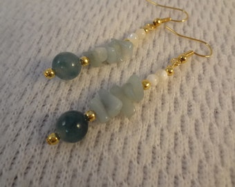 Light Green Jade, Amazonite, and Mother of Pearl Natural Stone 22k Gold Earrings -  Catherine F060
