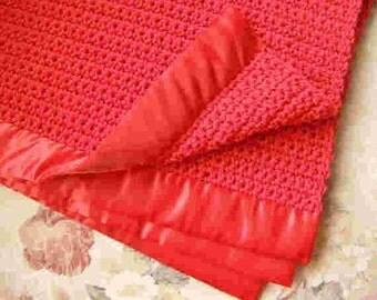 Crochet Baby Blanket - Red - Warm & Soft - Crochet Knit - Ready To Ship