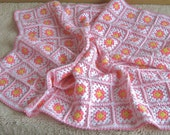 Granny square afghan blanket, handmade, colorful, patchwork, crochet, wrap, cover, pink, light, baby girl, warm and cozy