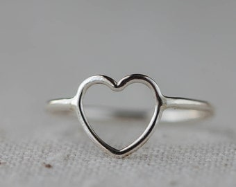 Heart Ring, Valentine, Sterling Silver Jewelry,  Open Heart, Love RIng