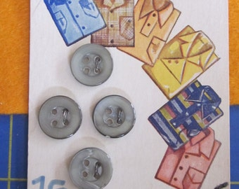 Vintage Luckyday Buttons - Sport Shirt buttons - 4 Included on card - genuine pearl grey  half inch size