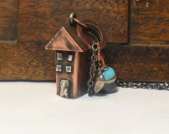 Arts & Crafts Miniature Whimsical House Necklace