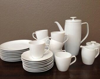 Antique Vintage Schonwald Porcelain White Teapot, Tea cups, Saucers, Creamer and Sugar Pot.  27 pcs. Old Fine China Dishes Set. Germany.