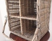 Four Part VINTAGE French  WICKER BASKET