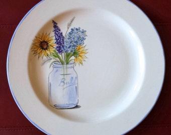 WEDDING GUEST BOOK Alternative - Unique Guest Book - Wedding Signature Plate - Mason Jar wild flowers