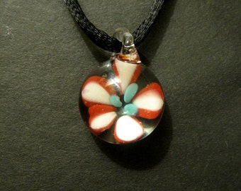 Flower Implosion Pendant Necklace Boro Glass Lampwork