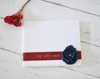 Custom Wedding Guestbook - Velvet Sash & Handmade Silk Flower Custom Book design by Claire Magnolia