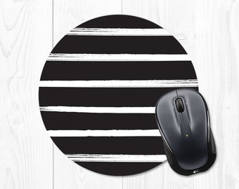 Black and White Striped Mousepad - Mouse Pad with Stripes