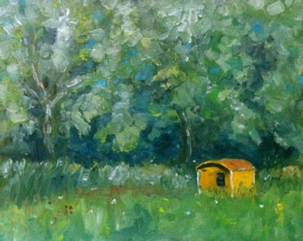 Trees and yellow cabin Netherlands original oil painting by Nancy van den Boom 11,8 x 15,5 inches