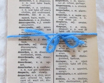 vintage SPANISH/ENGLISH DICTIONARY sheets (50 sheets-- 100 pages)  for collage, paper crafts, etc