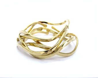 Flow Bangles Set of 3 Yellow Brass
