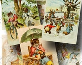Victorian Animals Dressed as People Digital Collage Sheet SALE!!! / Digital Download / Vintage Pets Clothes Human / ATC #1 INSTANT Download