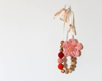 Peach Orange Nursing Necklace / Flower Teething Necklace Made In Israel by CasaDeGato