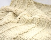 Crochet afghan cream cables thick bulky off white aran neutral small lap throw blanket heavy home decor washable coverlet
