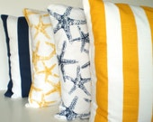 Navy Blue Yellow Nautical Throw Pillow Covers, Cushions, Navy Blue Yellow White, Stripes Starfish, Patio Porch, Combo Set of Four 18 x 18