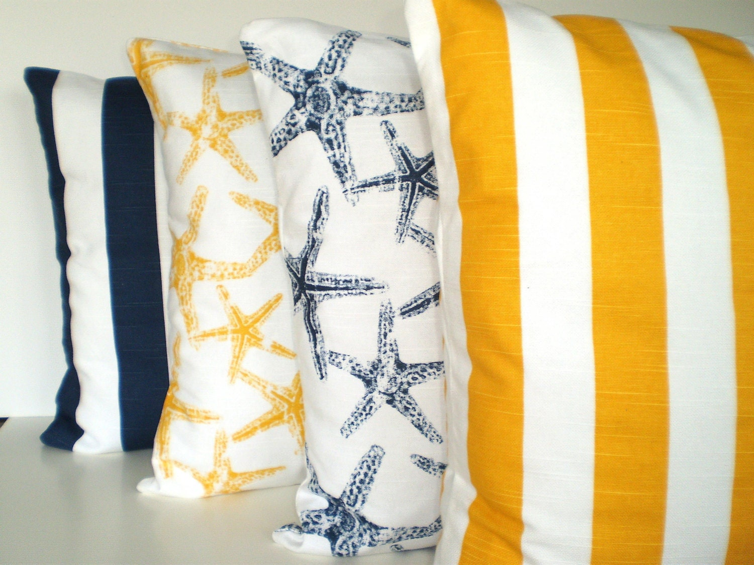 Navy Blue Yellow Nautical Throw Pillow Covers by FabricJunkie1640