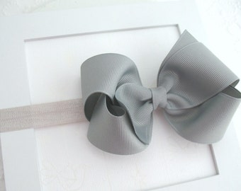Silver Grey Bow Headband, Baby Bow Headband, Grey Hair Bow, Baby Headband, Infant Headband, Toddler Hair Bow, Girls Hair Accessories