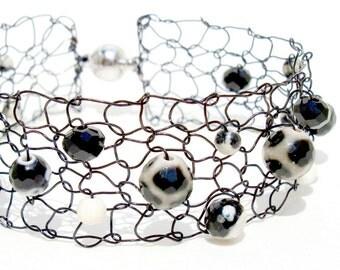 black ivory bracelet animal print beaded bracelet agate dalmatian jasper thin cuff bracelet tribal jewelry fall black white cuff
