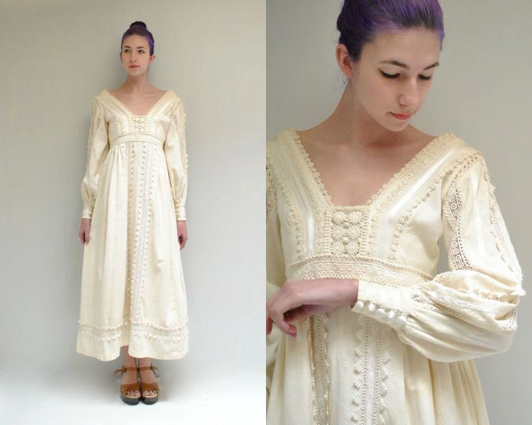 Cotton Wedding Gown: Mexican Wedding Dress // Cotton Lace By VintageUrbanRenewal