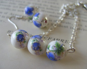 Rustic, Romantic, cornflower blue and white, necklace and earrings set, by NewellsJewels on etsy