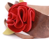 Red Suede Flower and Distressed Brown Wide Leather Cuff Bracelet