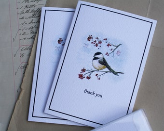 Chickadee with Winter Berries Thank You Notes Felt White Premium Quality Handmade Note Cards, Set of 8