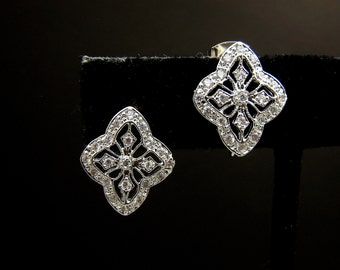 bridal jewelry wedding Bridesmaid earrings bridal party wedding earrings white gold shield post earrings with marcasite cubic zirconia deco