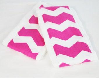 Hot Pink Chevron Burp Cloths - Set of 2