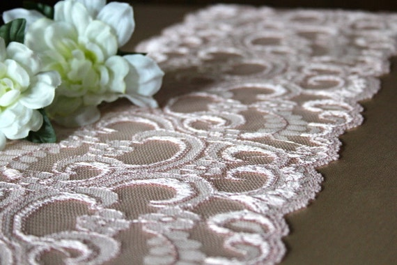 Pink Lace Table Runner // Weddings, Home Decor, Rustic, Shabby Chic, Vintage