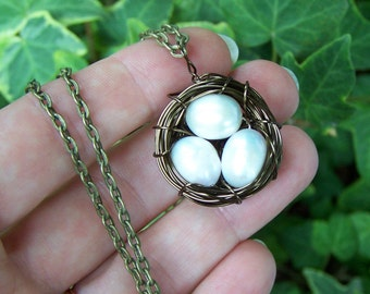 Bronze Bird Nest Necklace  freshwater pearl eggs