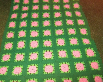 Sale Sale Stop N Smell The Roses Pretty Vintage Hand Made Pink 3 D Rose Afghan