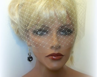 Wedding Veil Double Layer Bridal Veil, French Net and Tulle Bridal  Veil, White, Ivory, Champagne, Black Small Wedding Veil Destination