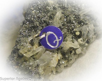 Letter Q Hand Engraved Purple Personalized Small  Charm 1/2 inch