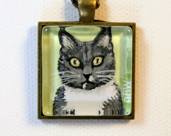 CUSTOM Painted Pet Portrait Pendant for You - Original Acrylic Painting  - Made to Order from Your Photos - Wearable Art Necklace