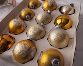 12 Vintage gold and glittery glass TREE ORNAMENTS - Shiny Brite, original box
