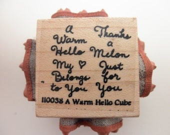 Rubber Stamp Cube - a warm hello