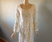 LACE Wedding DRESS Bohemian Wedding Dress Cream Woodland Fairy Train M
