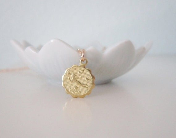 Virgo necklace. brass astrological charm necklace with gold filled chain,  sleek modern jewelry