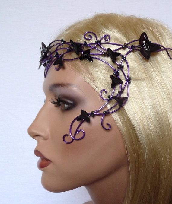 Purple vine circlet with purple leaves, womens, accessories, headband, handmade