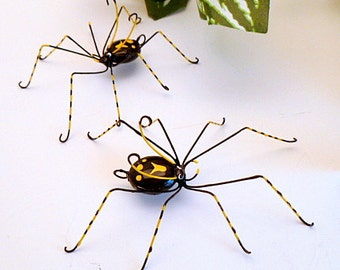 Two Medium Black Spiders Pet Spiders Gift for Entomologists Bug Lovers Wire Spider Wire Art Unique Home Decor Unique Ornaments Collectible