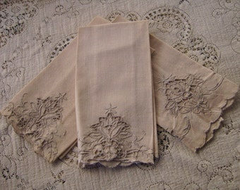 Three (3) Vintage Madeira Linen Beige Gray Dish Towels