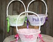 White Easter Basket, Easter Basket, Custom Easter Basket, Wicker Easter Basket, Lined Easter Basket, Personalized Easter Basket